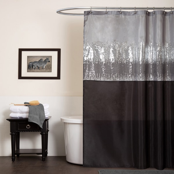 Vorhang Punkte Lush Decor Night Sky Black / Grey Shower Curtain - Free