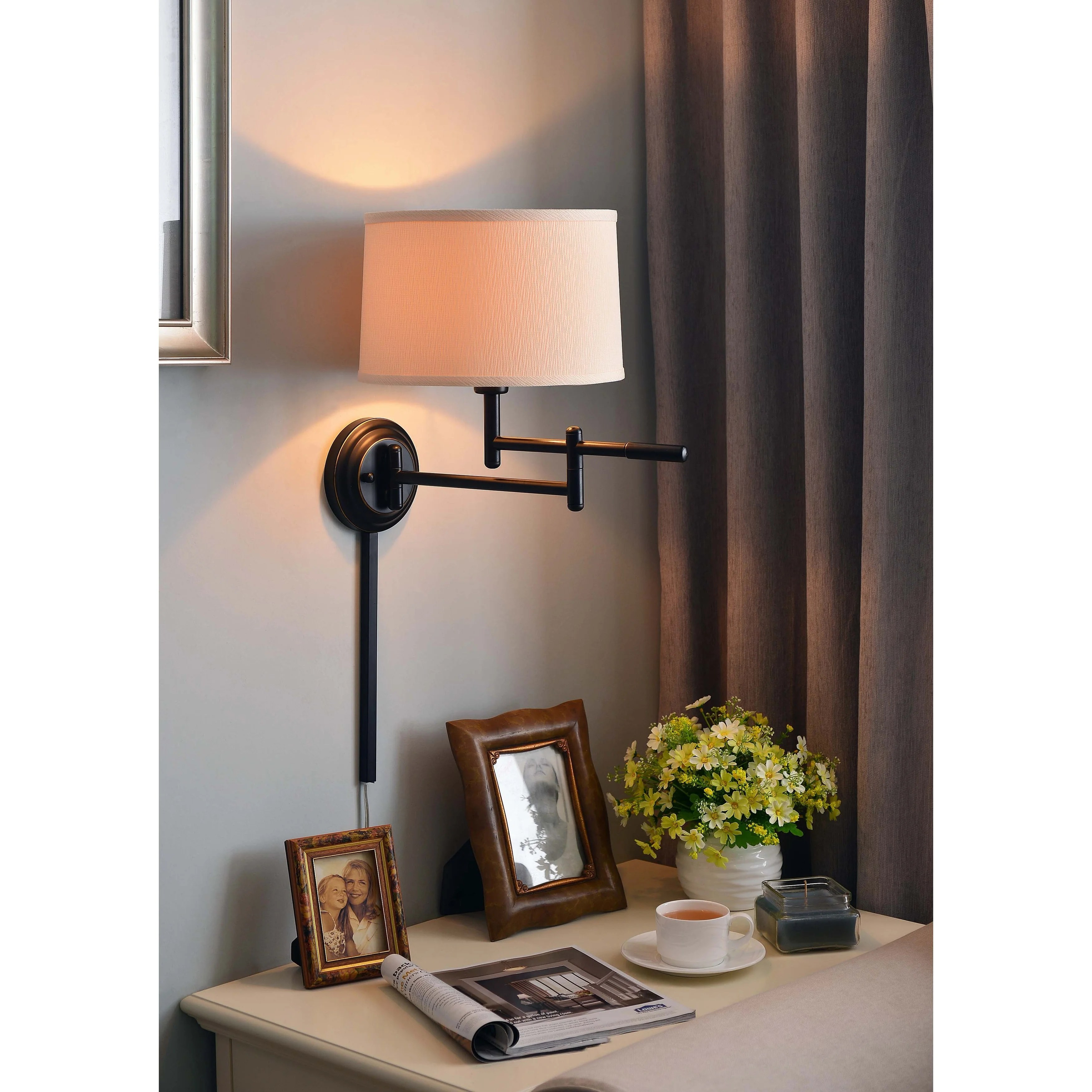 Swing Wall Lamp Copper Grove Leighton 1 Light Copper Bronze Swing Arm Wall Lamp