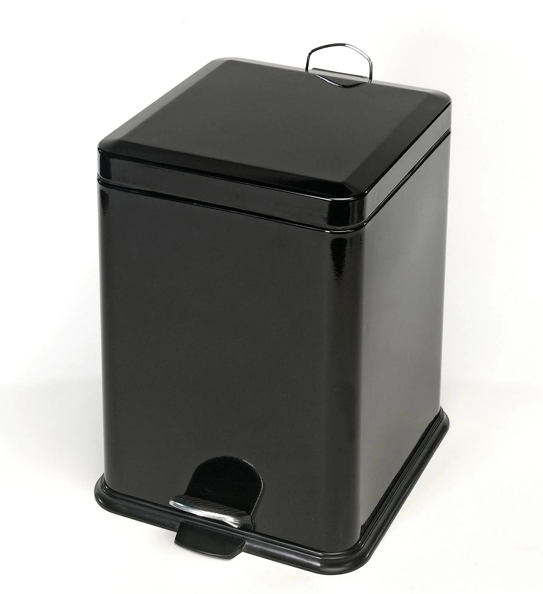 Black Metal Trash Can Black Steel 20 Liter Trash Can Free Shipping Today
