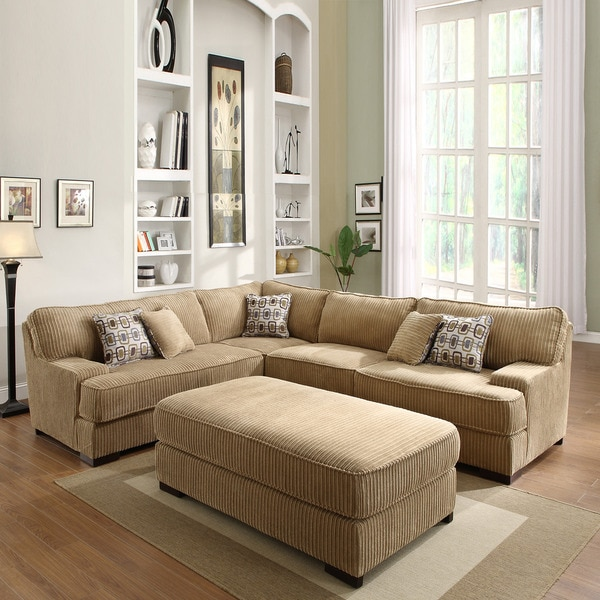 Corduroy Sofa Sectional Tara Chocolate Corduroy Sectional Set - Free Shipping