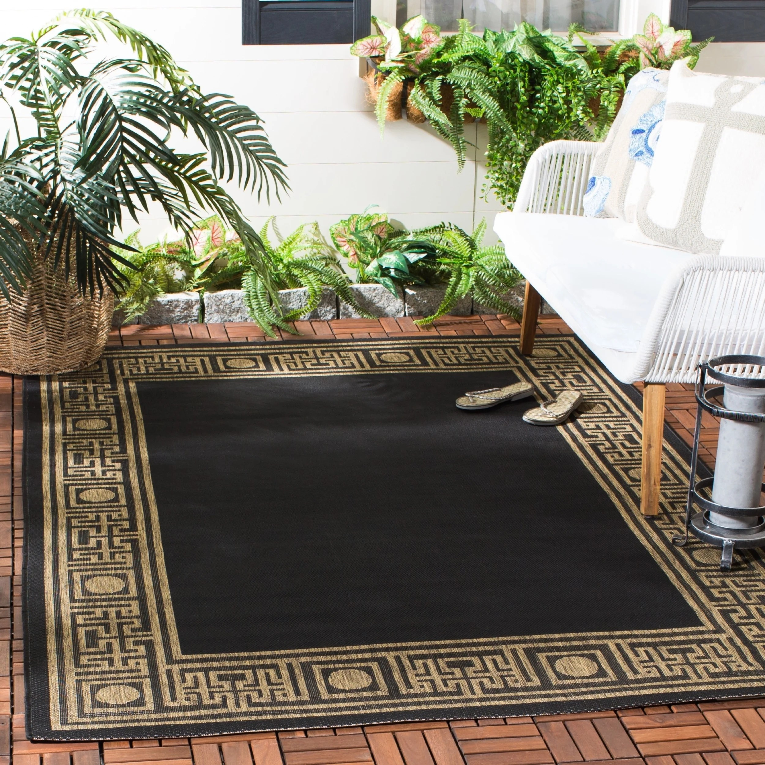 Safavieh Courtyard Safavieh Courtyard Black Coffee Brown Indoor Outdoor Rug