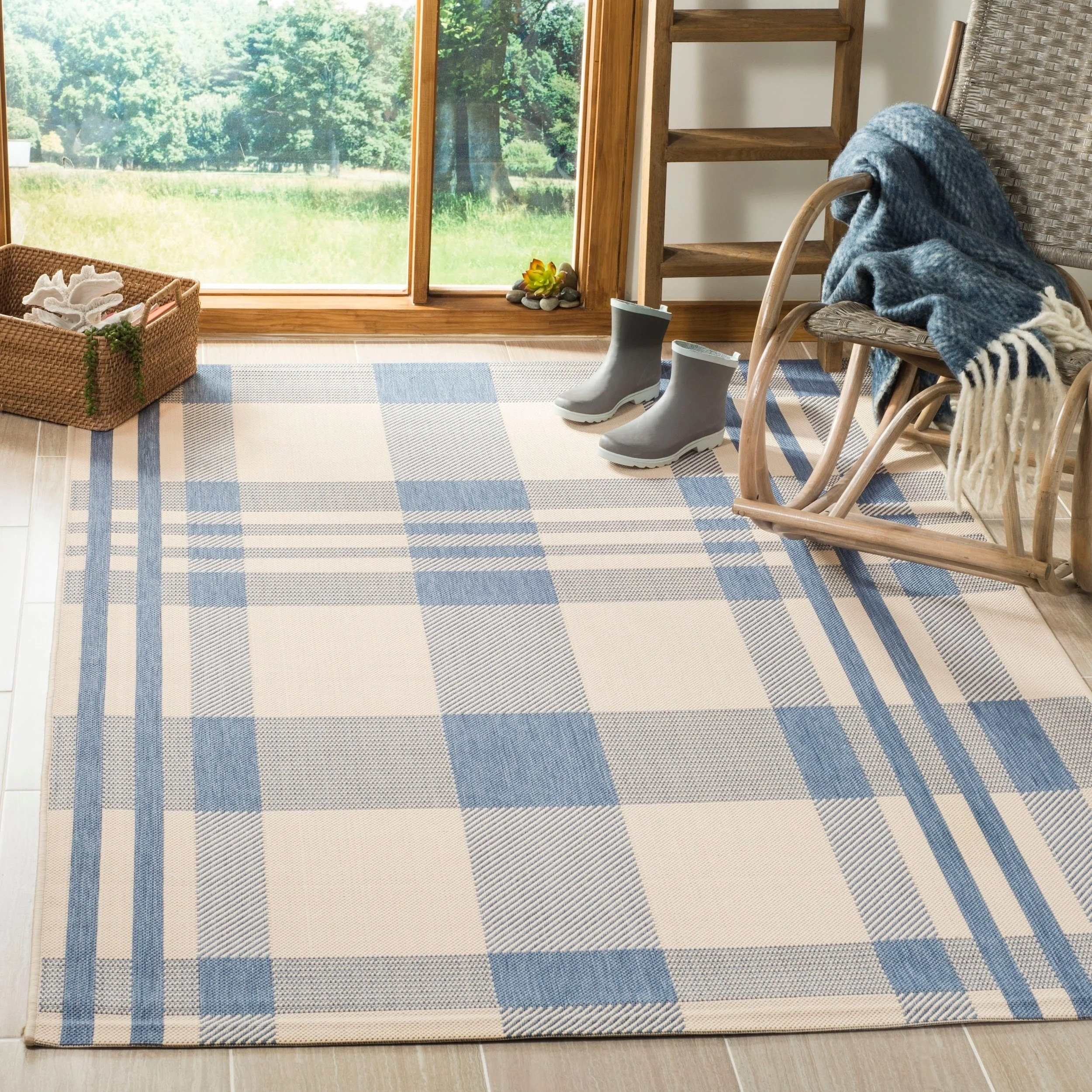 Safavieh Courtyard Safavieh Courtyard Plaid Beige Blue Indoor Outdoor Rug