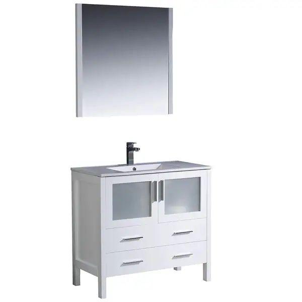Fresca torino 36 inch white modern bathroom vanity with undermount