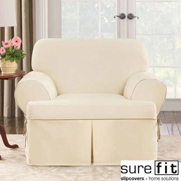 T Cushion Chair Slipcover Sure Fit Contrast Cord Natural Chair T-cushion Slipcover - 14982640 - Overstock.com Shopping ...