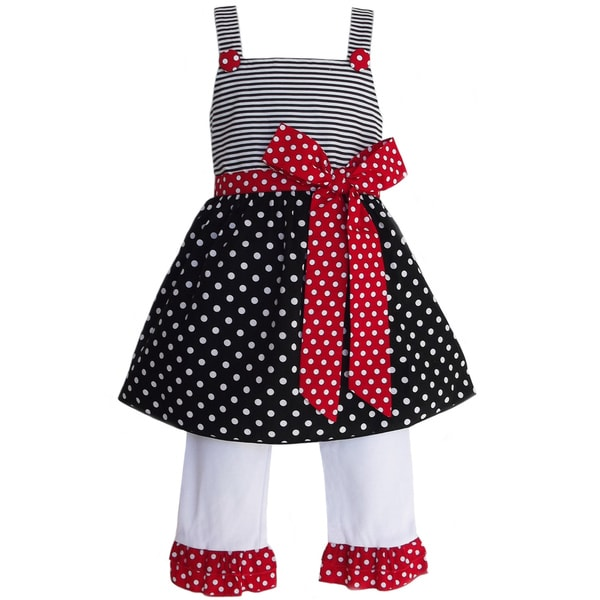 Shop AnnLoren Girls Polka Dots  Stripes Outfit - Free Shipping On