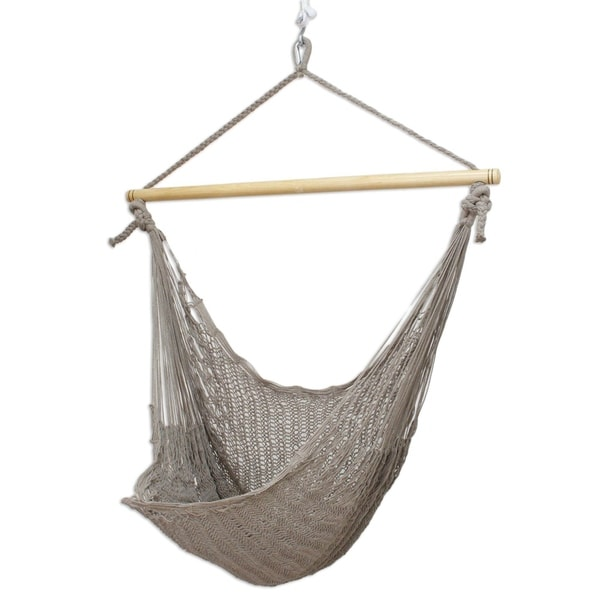 Mexico Chair Hammock Shop Handcrafted Grey Cotton/banak Wood Pate Large Deluxe