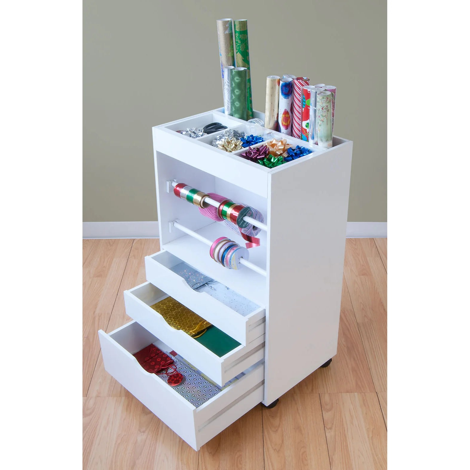 Cadeaupapier Opbergen New White Wrapping Storage Container Cart 3 Drawer Gift