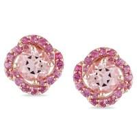 Miadora Rose Plated Silver Pink Tourmaline and Morganite