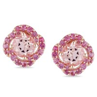 Miadora Rose Plated Silver Pink Tourmaline and Morganite ...