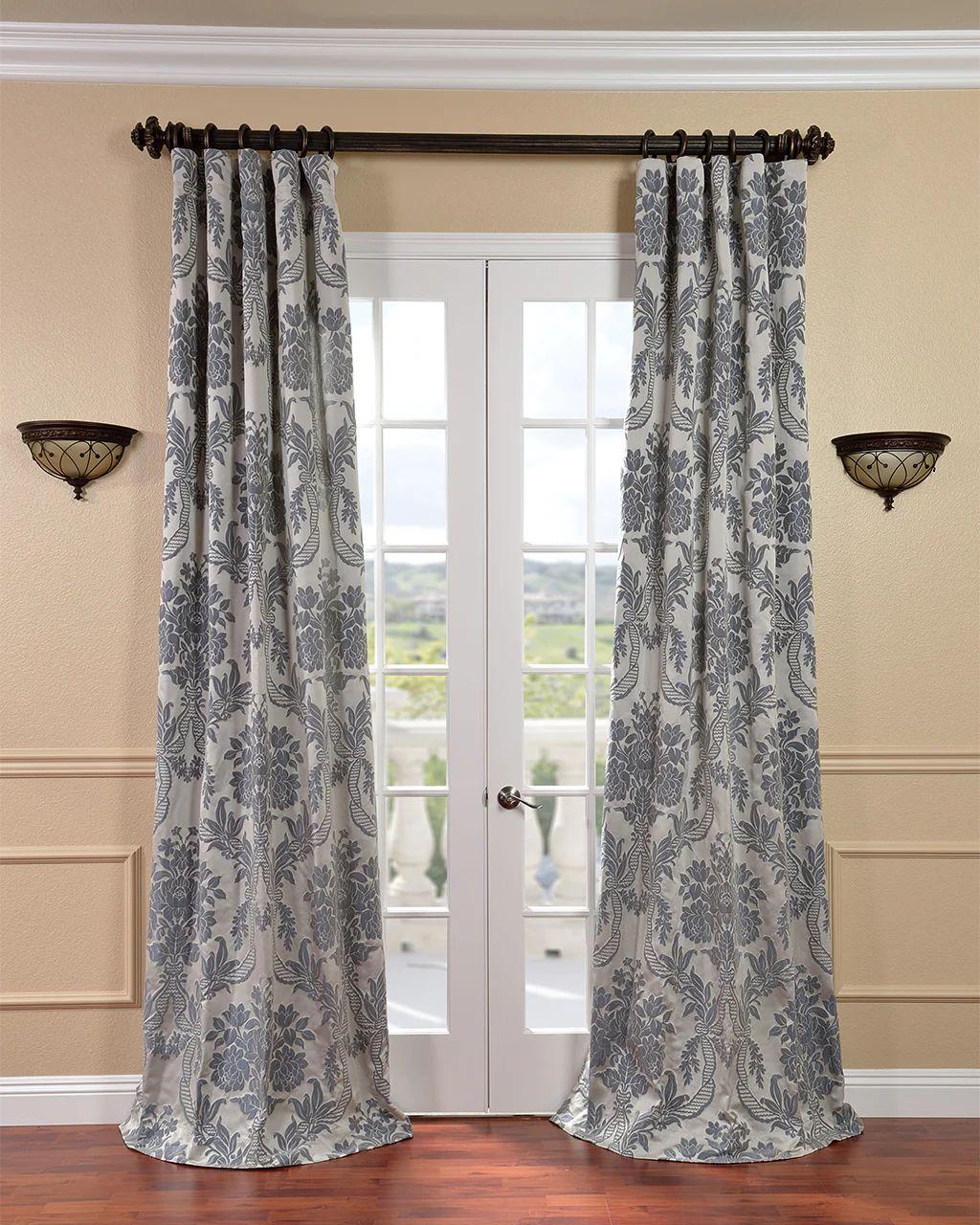 Exclusive fabrics magdelena silver blue faux silk jacquard curtain panel