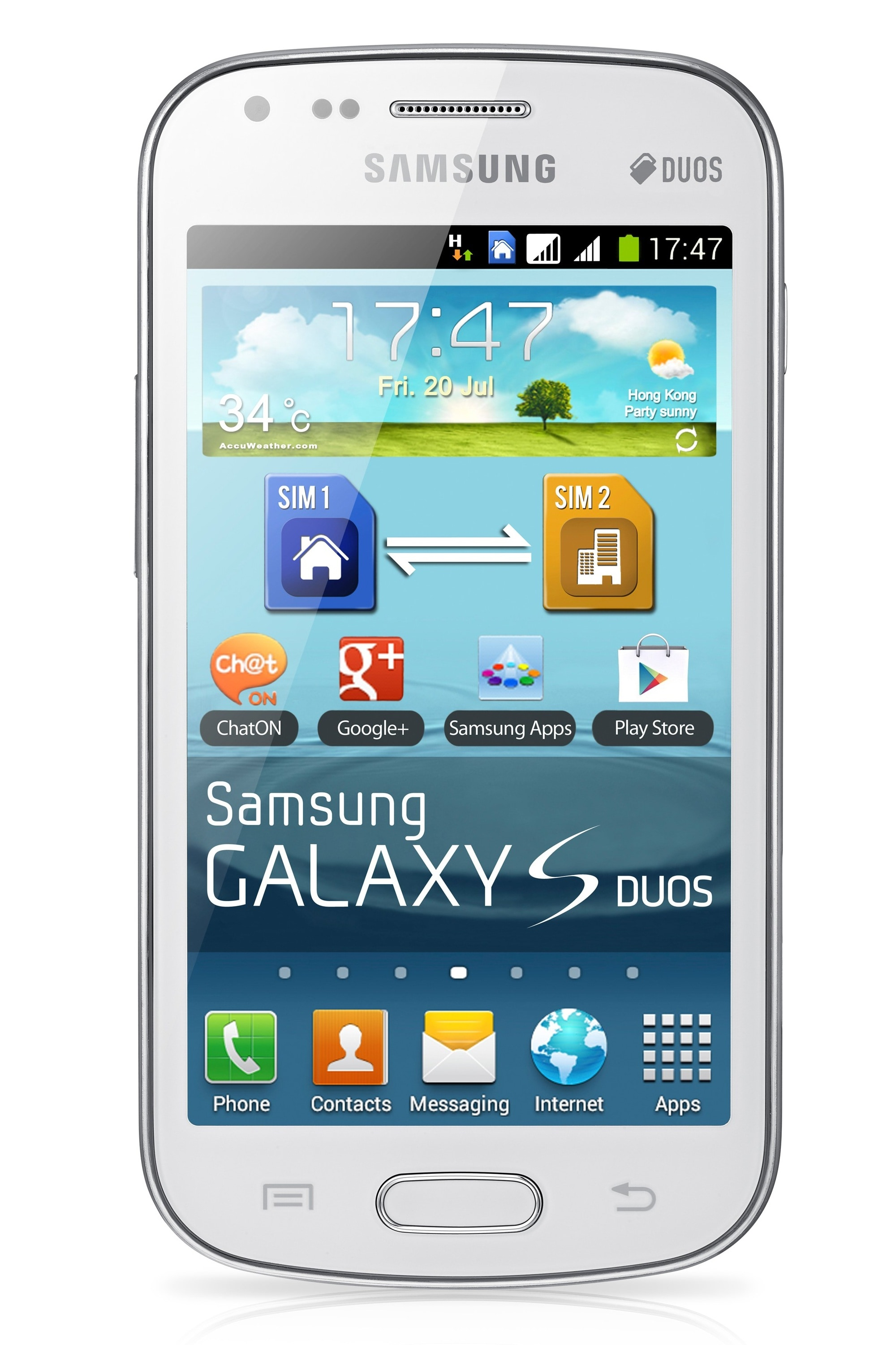 Samsung galaxy s duos s7562 gsm unlocked dual sim android cell phone white