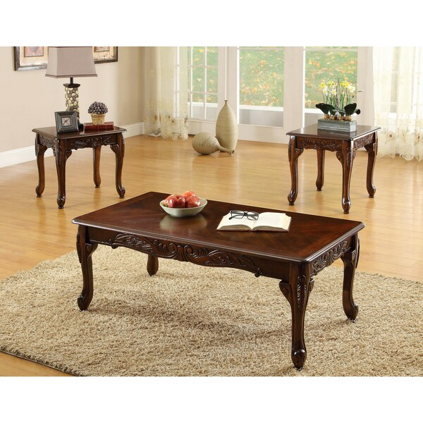 Furniture of America Mariefey Classic 3-piece Coffee and End Table - 3 piece living room table set