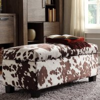 Shop Sauganash Cowhide Print Lift Top Storage Bench by