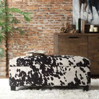 Shop Sauganash Black Cowhide Print Lift Top Storage Bench