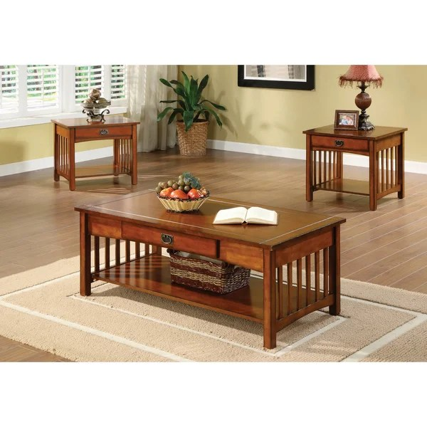 Furniture of America Nash Mission Style 3-piece Antique Oak Finish - 3 piece living room table set