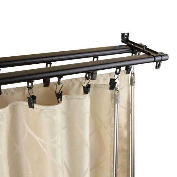 Regal black adjustable double curtain rod track 15560445