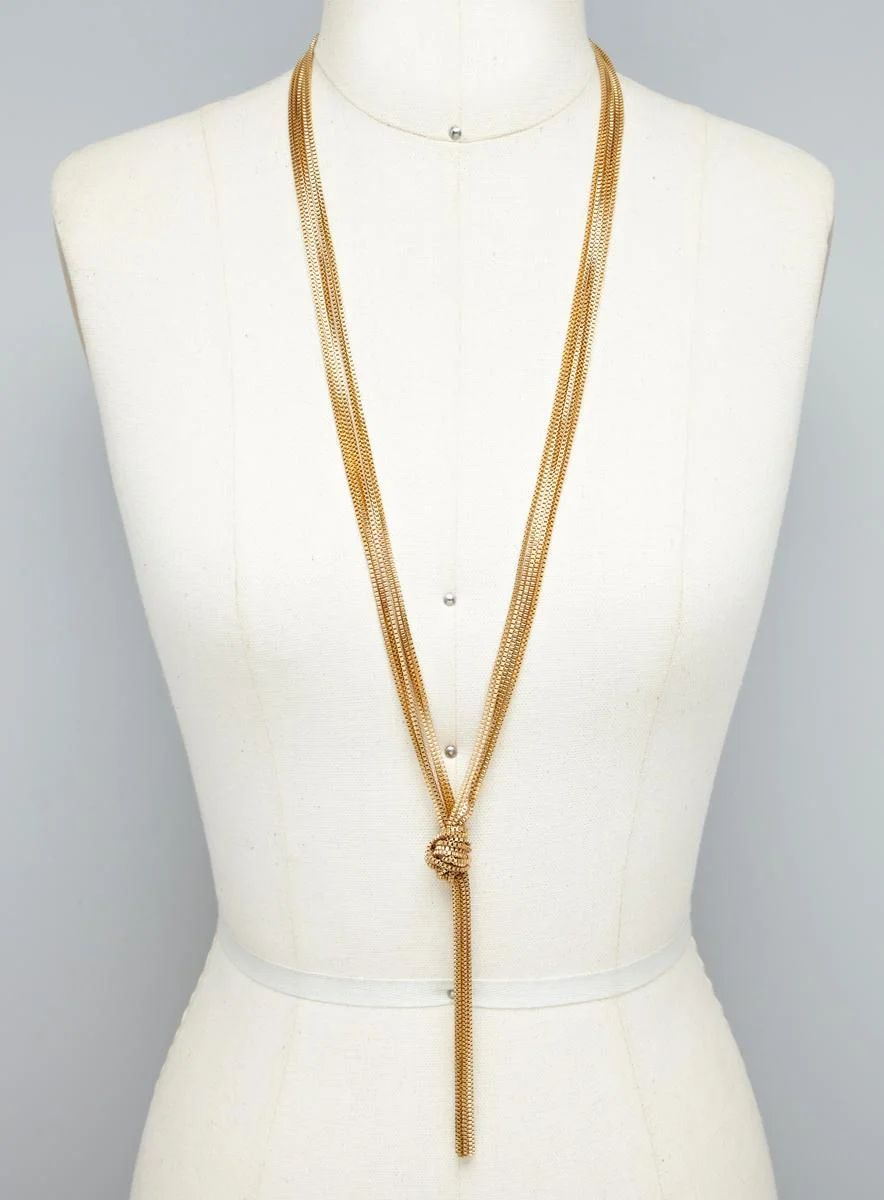 Gold long necklace design with price -  Gold Multi Color Long Chain Knot Necklace Download