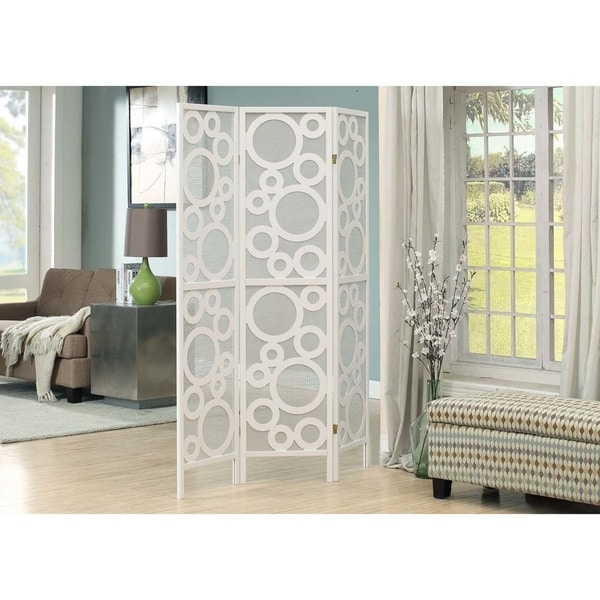 Shop White Framed 3-Panel Folding Screen with Bubble Design - Free