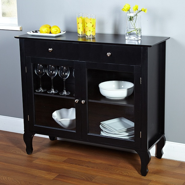Buffet Sideboard With Glass Doors Layla Black Buffet Storage Cabinet Furniture Sideboard