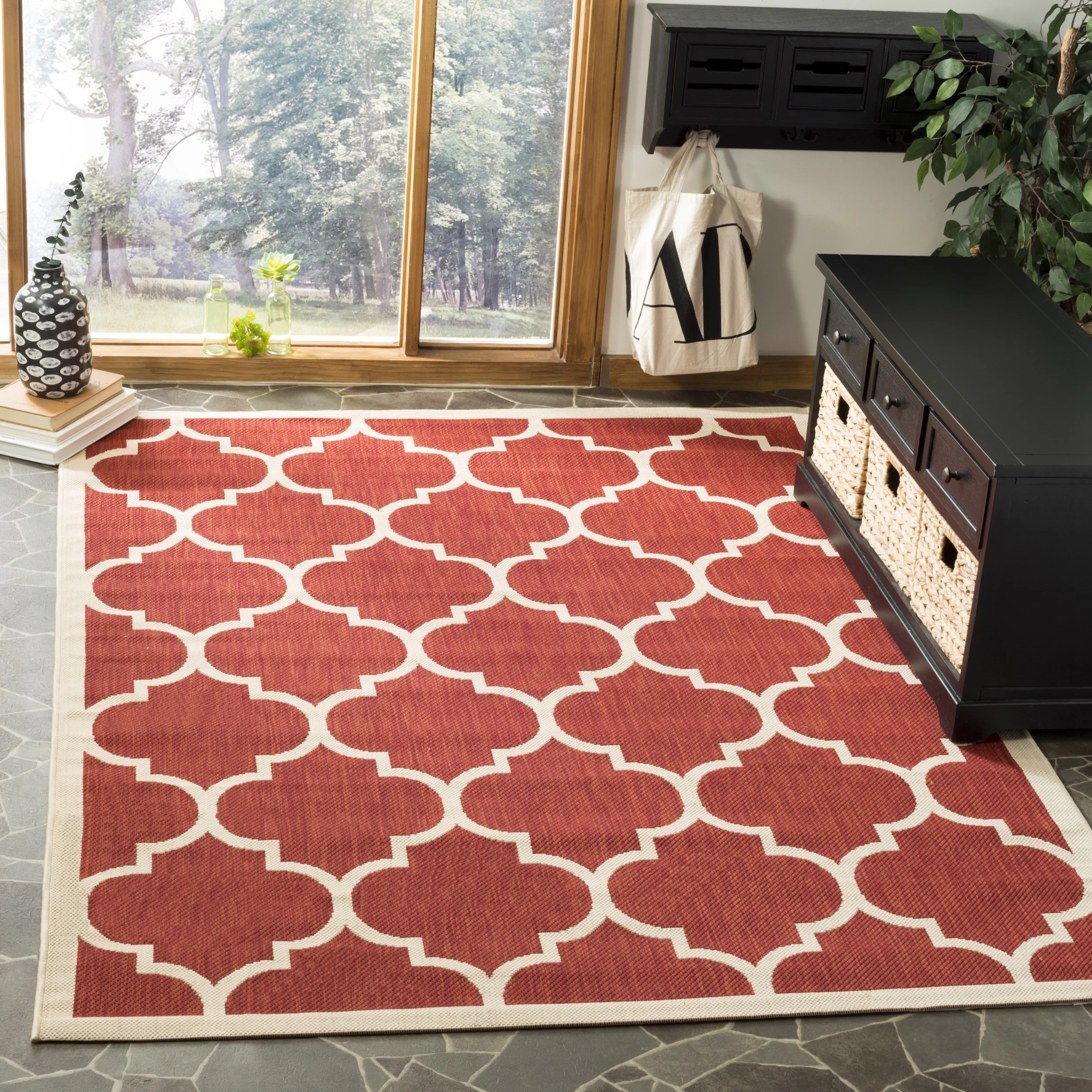 Safavieh Courtyard Safavieh Courtyard Lagoon Red Beige Indoor Outdoor Rug 5 3