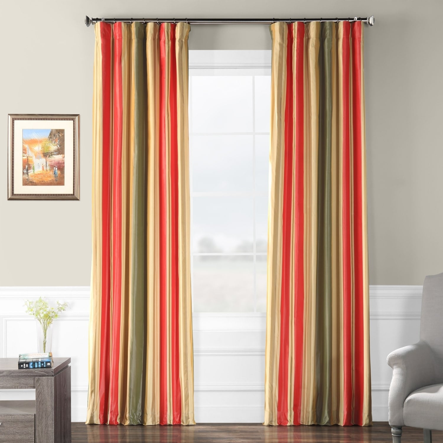 Faux Silk Curtains Details About Exclusive Fabrics Orleans Faux Silk Taffeta Stripe Curtain