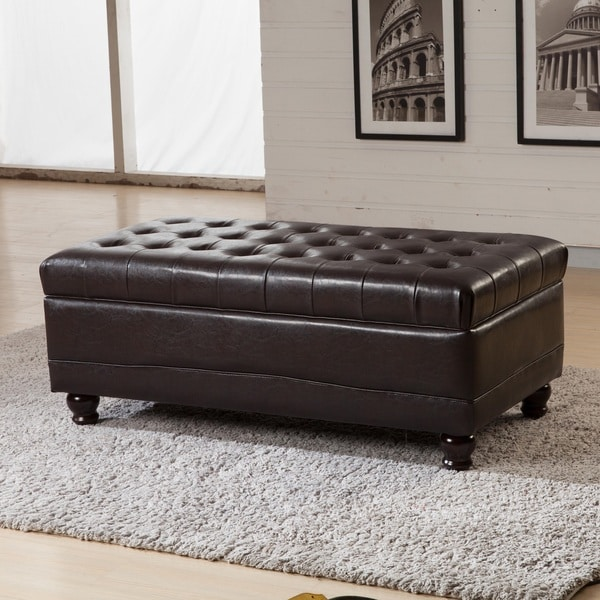 Shop Classic Brown Tufted Storage Bench Ottoman Free