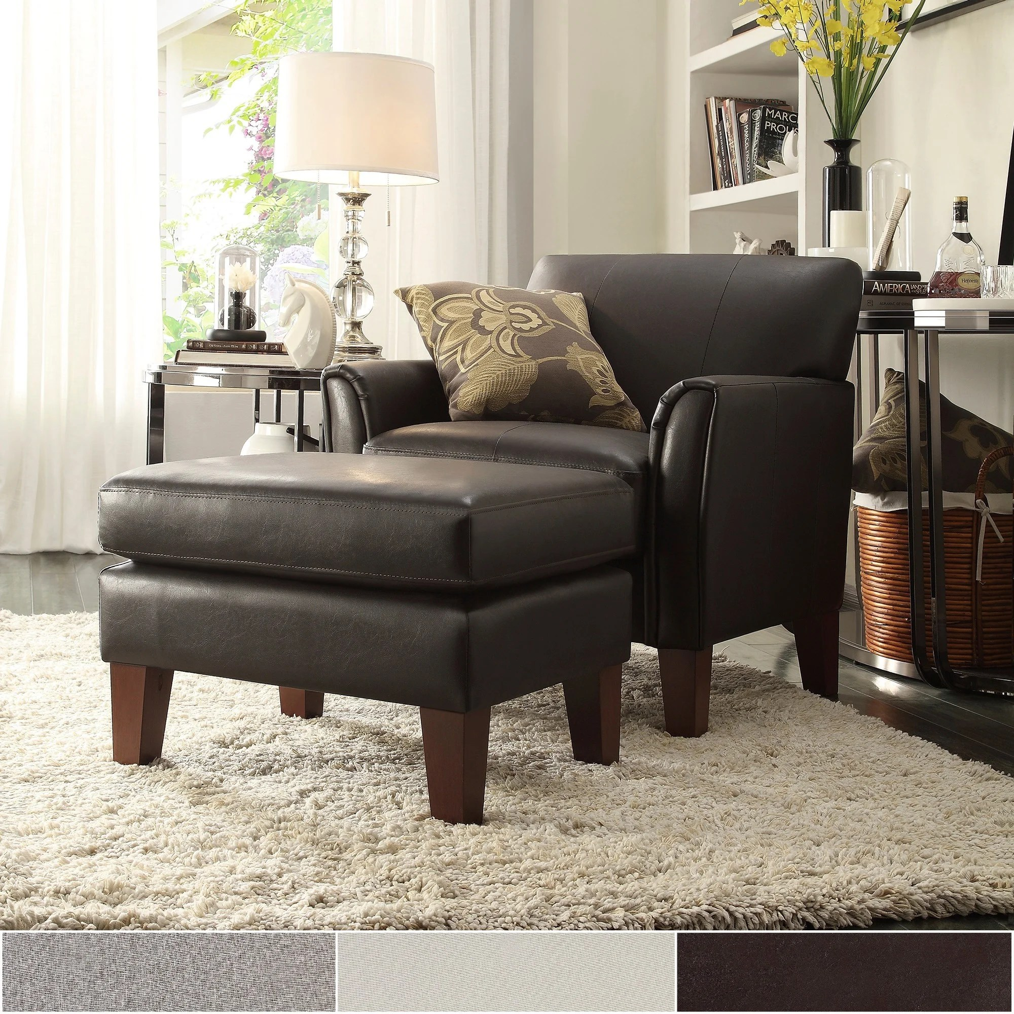 Oversized Reading Chair With Ottoman Buy Chair Ottoman Sets Living Room Chairs Online At Overstock
