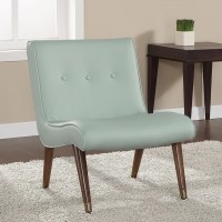 Mid-century Aqua Bonded Armless Chair - Free Shipping ...