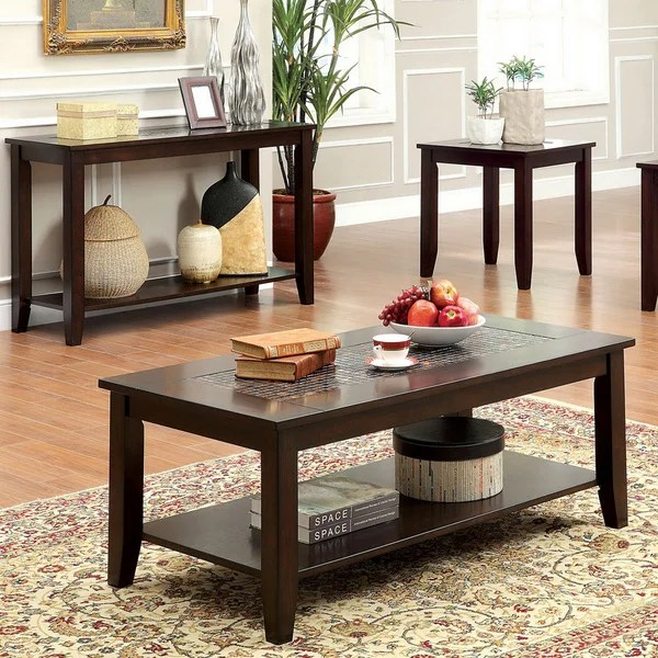 Furniture of America u0027Kalaniu0027 Mosaic Insert 3-piece Coffee\/ End - 3 piece living room table set