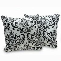 Shop Arbor Black and White Cotton Damask Decorative Throw ...