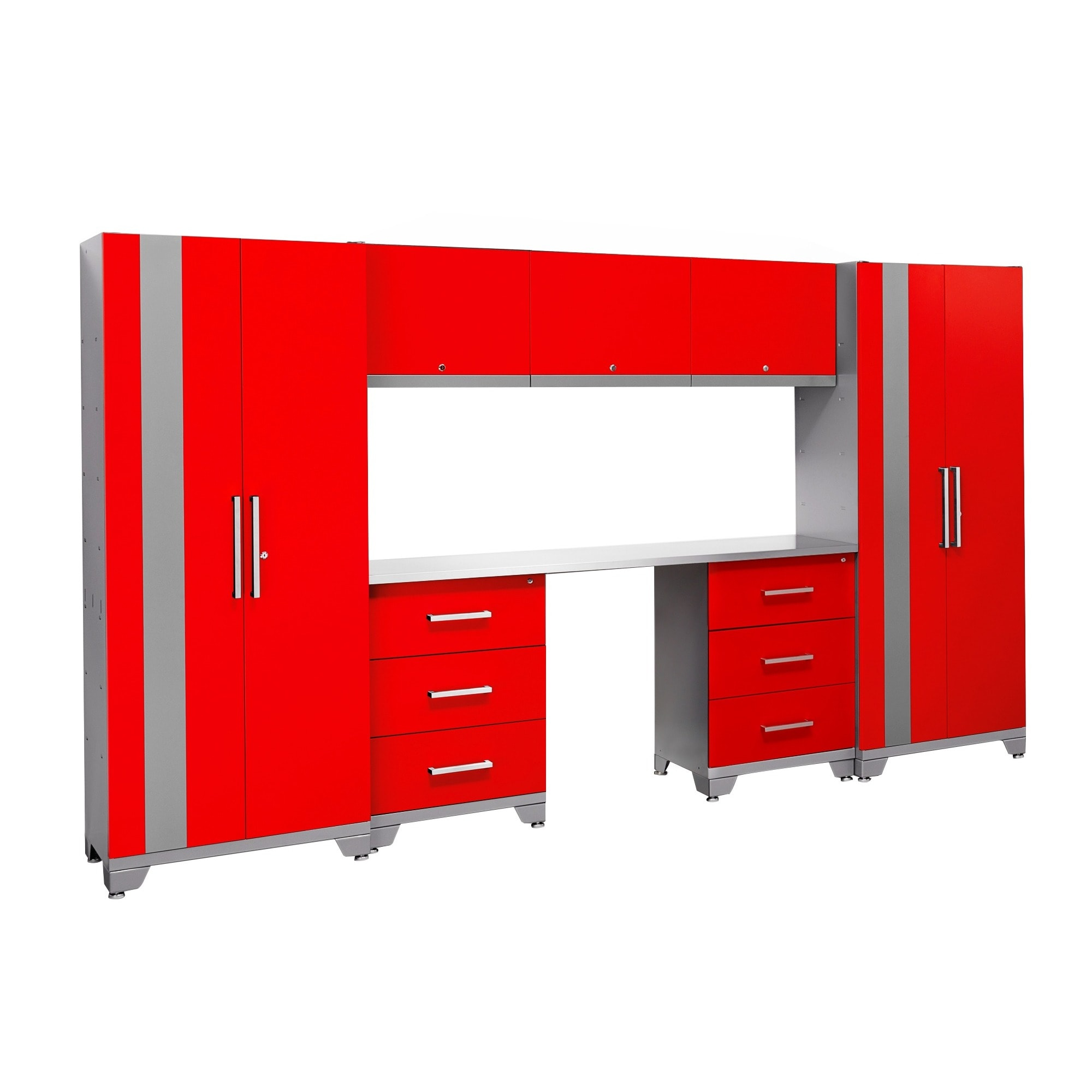 Garage Cabinets Overstock Newage Products Performance Series Red 8 Piece Metal