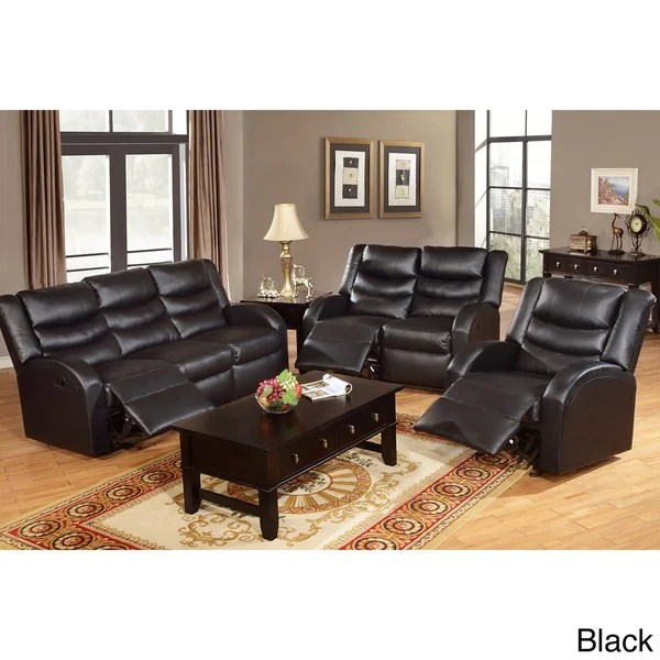 Rouen Bonded Leather Recliner Motion Living Room Set - Free - living room sets with recliners