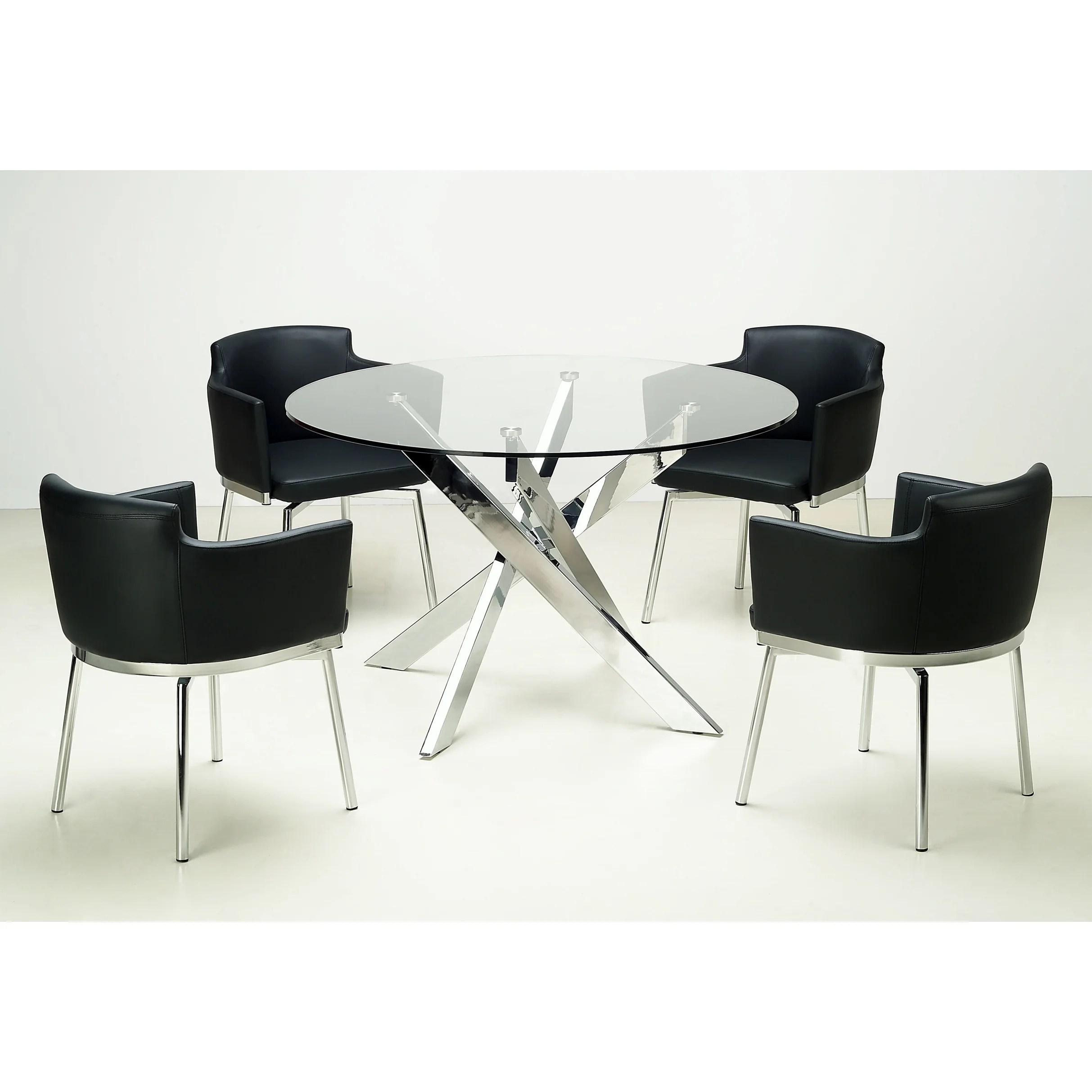 Round Glass Top Dining Table Details About Somette Round Glass Top Chrome Dining Table Silver