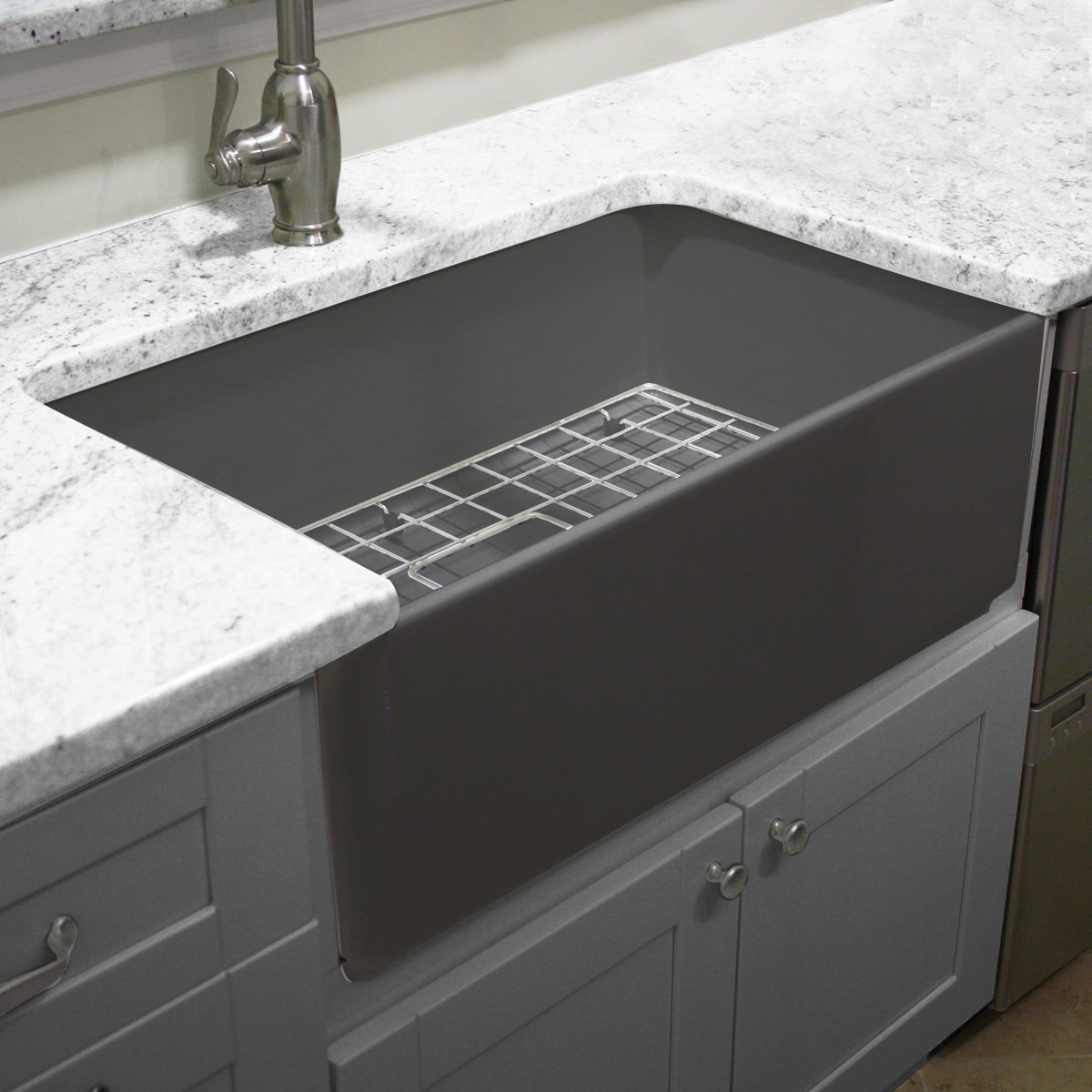 Overstock Farmhouse Sink Highpoint Collection Grey 30 Inch Single Bowl Fireclay