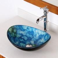 Shop Elite Unique Oval Tempered Glass Bathroom Vessel Sink
