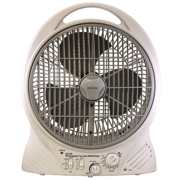Gama Sonic Rechargeable 12 Inch Portable Fan With Am Fm