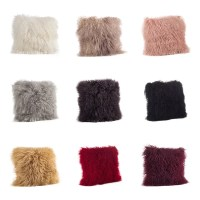 Mongolian Lamb Fur Throw Pillow - Free Shipping Today ...