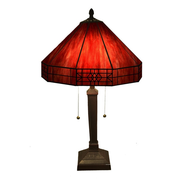 Lampe Rot Shop Maeve Tiffany-style 2-light Red Table Lamp - On Sale
