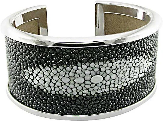 Shop Sterling Silver Faux Stingray Leather Cuff Bracelet