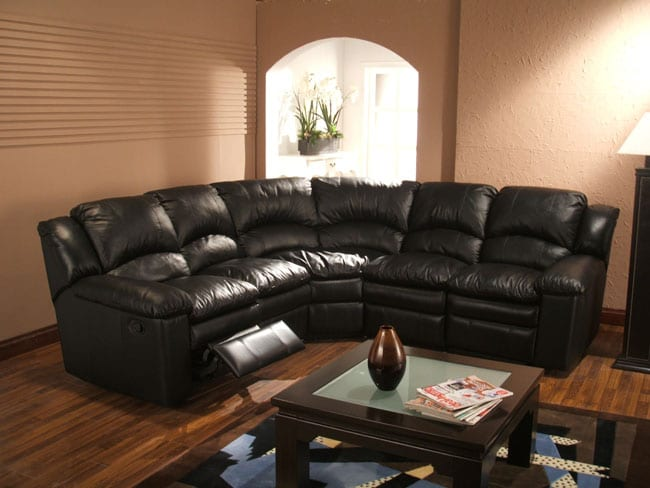 Couch Chesterfield Black Leather 5-seat Recliner Sectional Sofa - Free