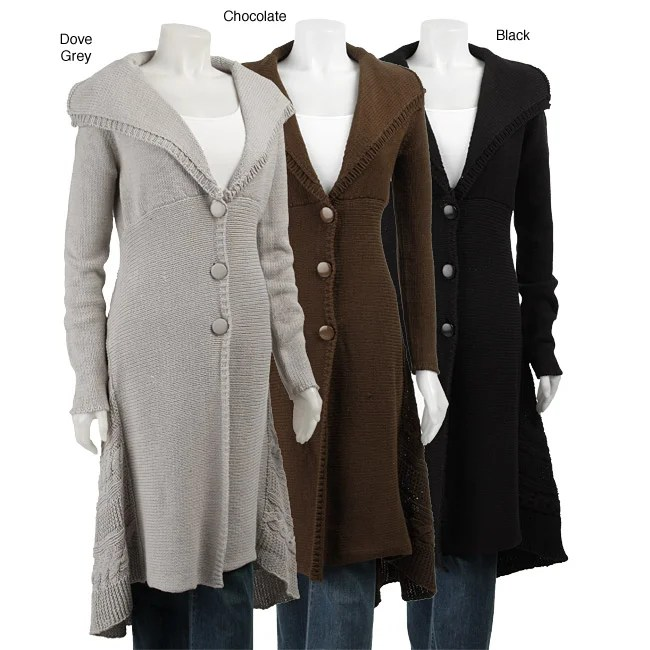 Bobeau Plus Size Clothing Belldini Women's 3-button Sweater Coat Duster - Free