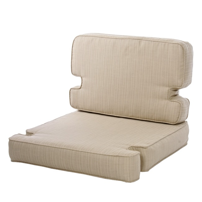 Teak Outdoor Notched Arm Chair Back And Seat Cushion Set