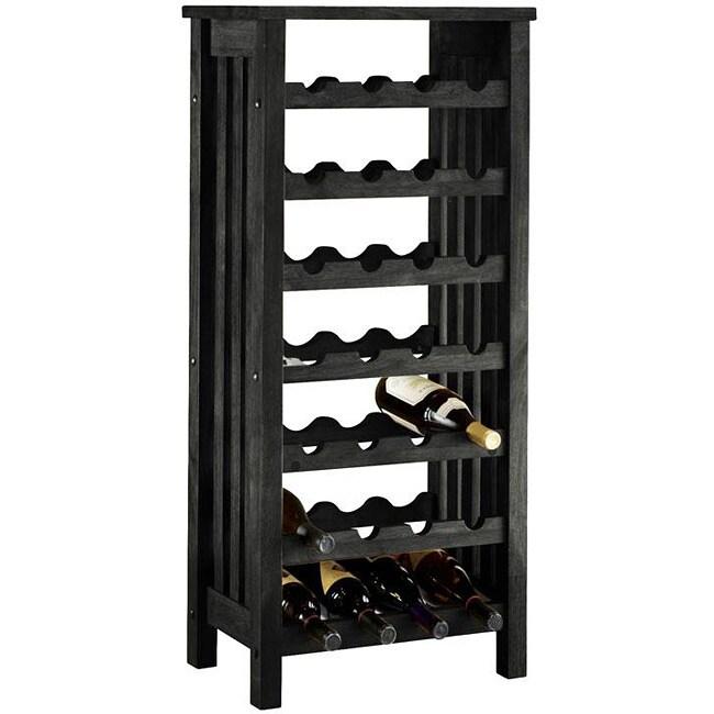 Black Wood 28 Bottle Wine Rack Free Shipping Today