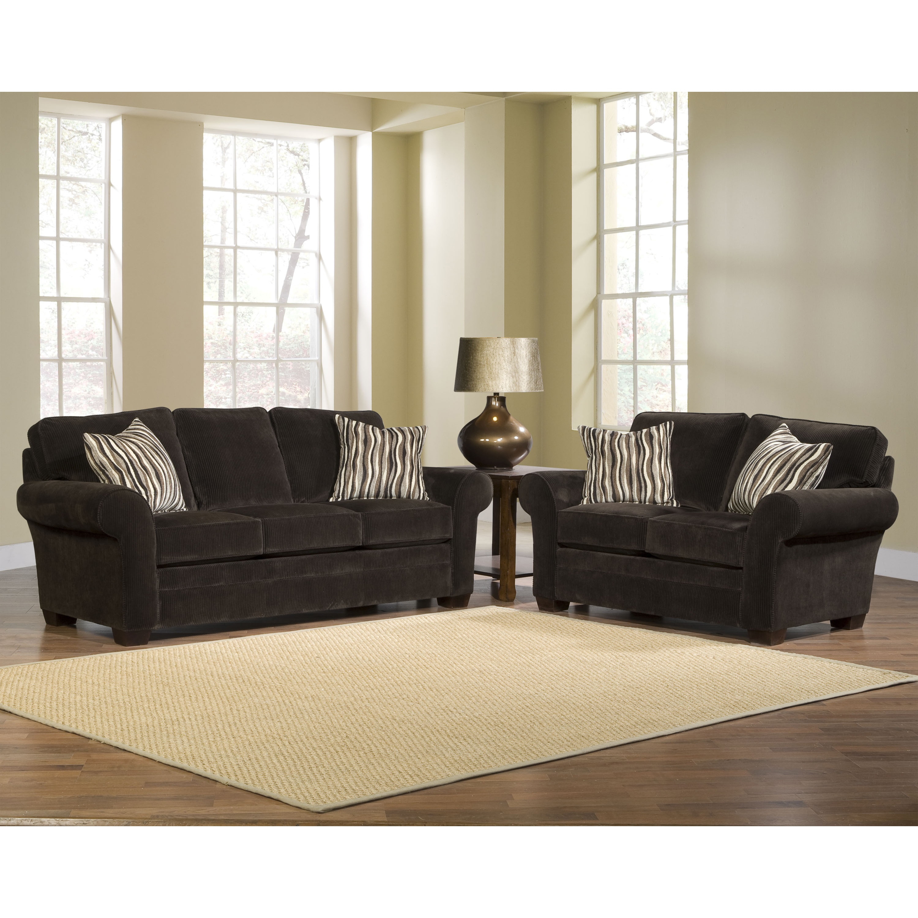 Broyhill Brown Corduroy Sofa Broyhill Zoey 2 Piece Dark Chocolate Sofa Loveseat Pillows Set