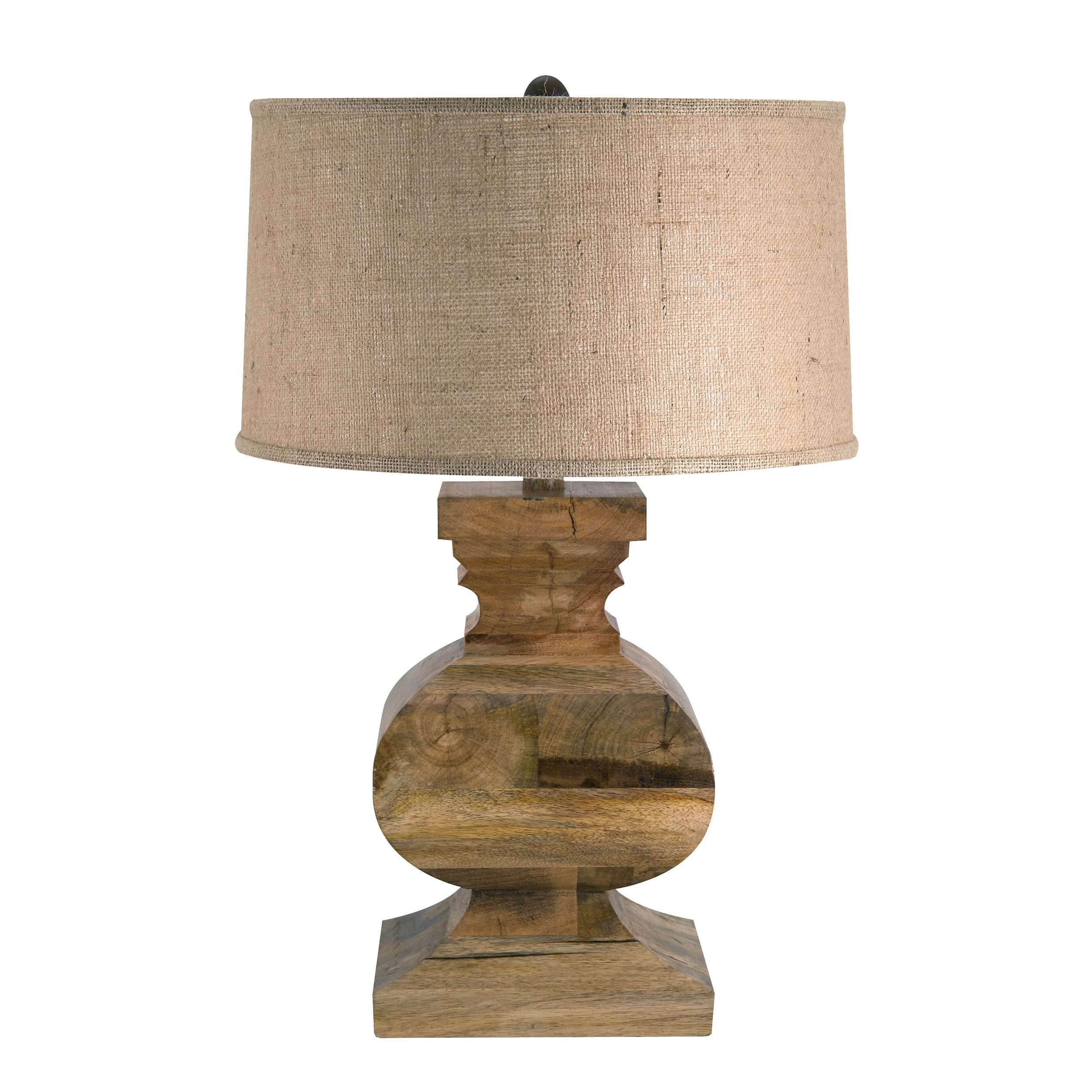 Real Wood Lamps Shop Solid Wood Curved Block Lamp Free Shipping Today