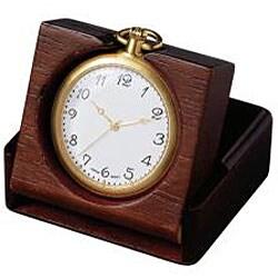 Pedre Men39s Goldtone Pocket Watch And Engravable Wooden