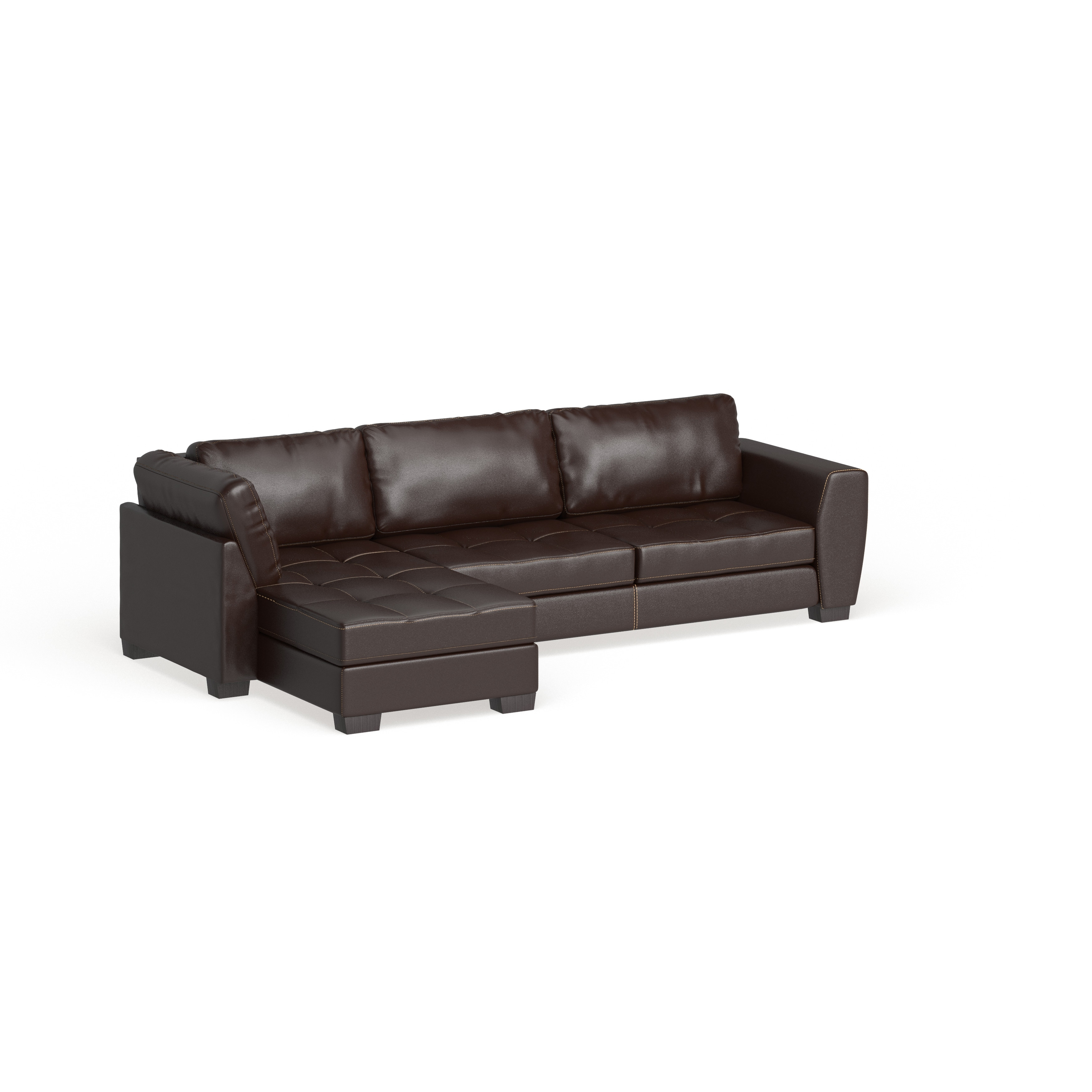 Porch Den Glendale Brown Leather Modern Sectional Sofa Set With Left Facing Chaise On Sale Overstock 20543375