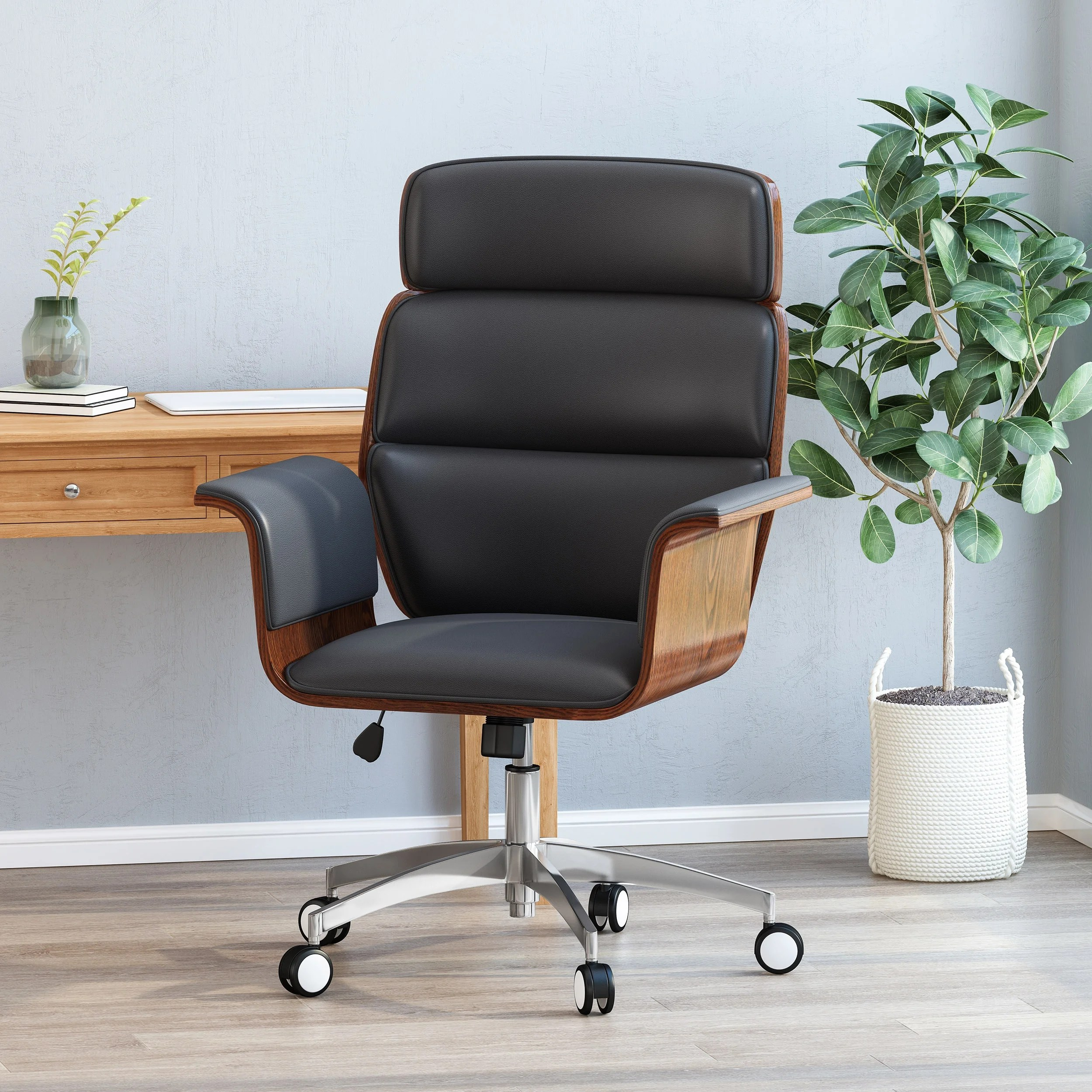 Cannonade Mid Century Swivel Office Chair By Christopher Knight Home Overstock 31914200 Black Gray Silver