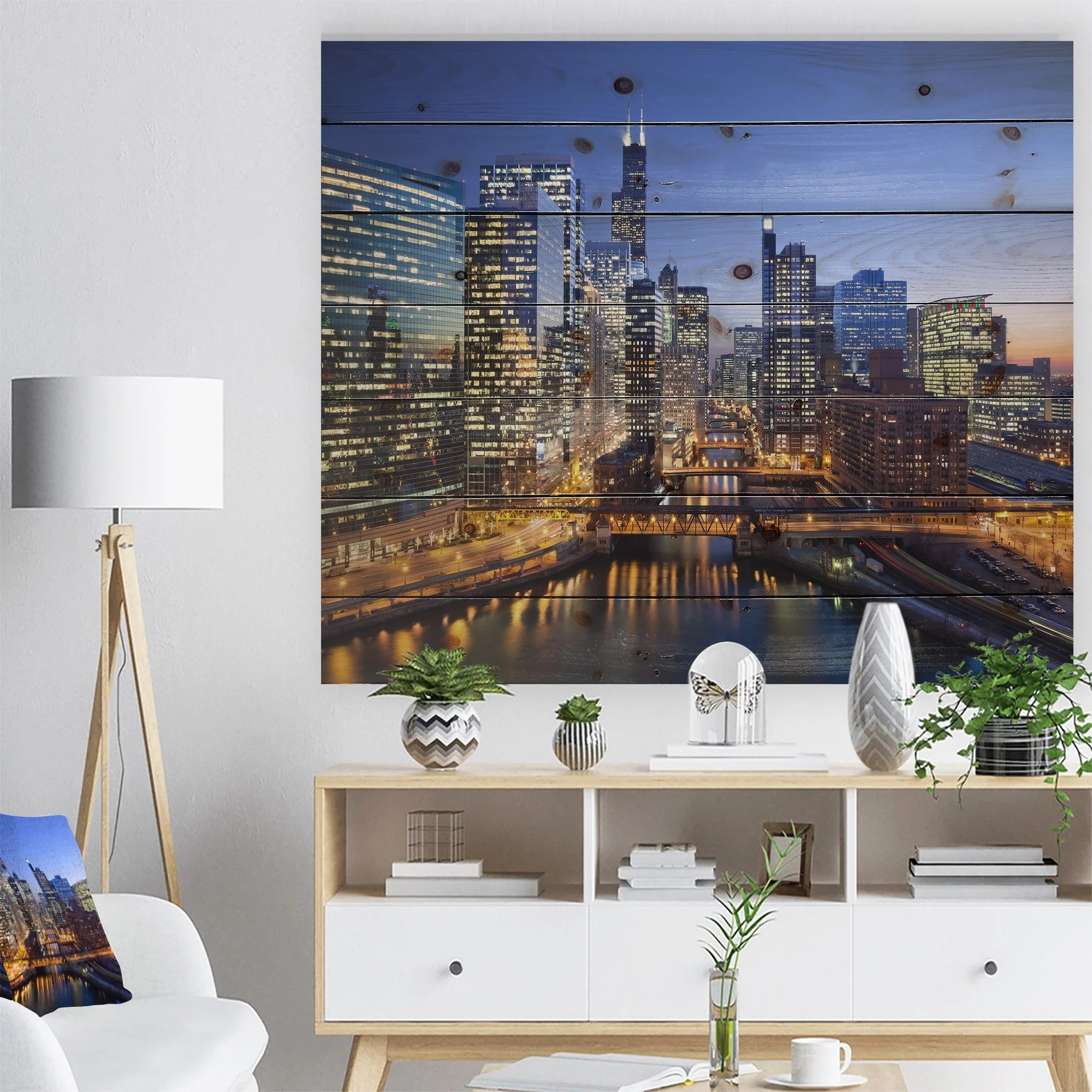 Designart Chicago River With Bridges At Sunset Cityscape Print On Natural Pine Wood Multi Color Overstock 23107405