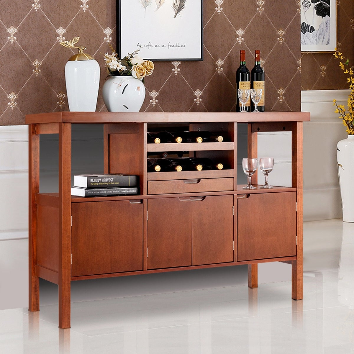 Buffet Sideboard With Wine Rack Costway Brown Wooden Buffet Server Table Storage Cabinet Sideboard Dining W Wine Rack
